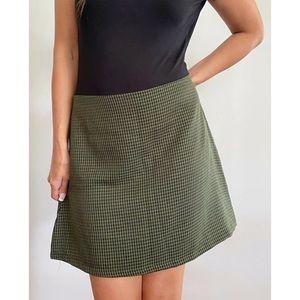 SHOWPO Khaki Green Gingham Skirt Plus Size AU 16